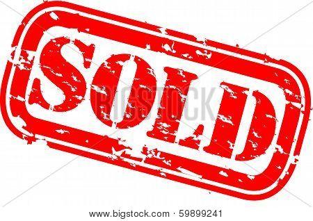 Grunge sold rubber stamp, vector illustration