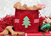 Homemade dog cookies in a decorative Christmas bag surrounded by Christmas decor. poster