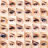 Collection of many female eyes with a different makeup poster