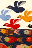 Colorful carpet with bird and fish patterns hanging on the market. Oaxaca Mexico poster
