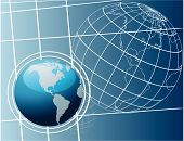 Shiny world globes vector illustration art background poster