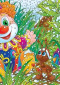 High resolution illustration with Ant and Clown for Christmas design poster
