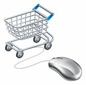 Online shopping cart mouse concept a mouse connected to a shopping trolley concept for online shopping poster