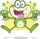 Crazy Green Frog Cartoon Mascot Character Jumping With Cash poster