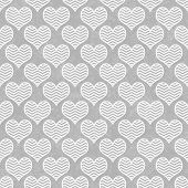 Gray and White Chevron Hearts Pattern Repeat Background that is seamless and repeats poster