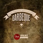 Vintage Bbq Grill Restaurant Label  | EPS10 Compatibility Required poster
