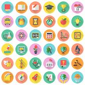 Set of  modern flat round icons of school subjects in colored circles with long shadows poster