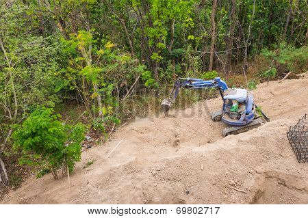 Backhoe Tractor Excavation Working On Site