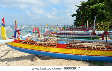 Traditional fishing boats on Sanur Beach