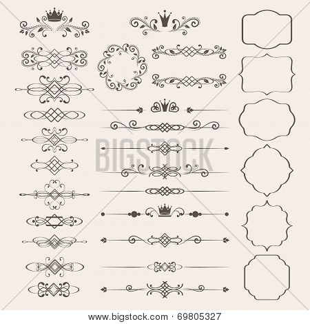Floral design elements set, ornamental vintage frames with crowns