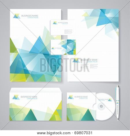 Corporate Identity Template With Blue And Green Geometric Elements.