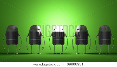 Row Of Robots, One Of Them With Glowing Head