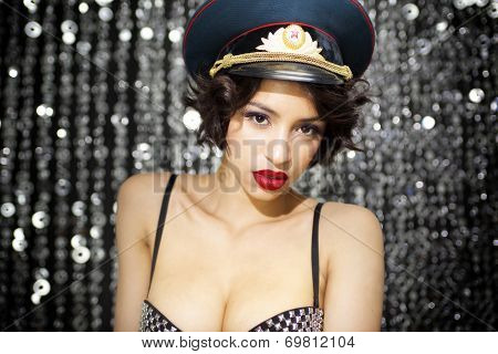 Sexy Woman With Military Hat