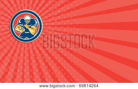 Business Card American Football Player Fend Off Circle Retro