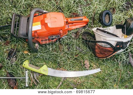 Chainsaw And Pruning Handsaw