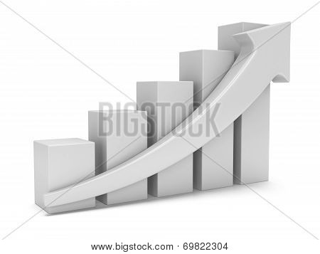 White Bar Graph With Red Arrow