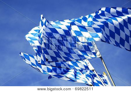 Bavarian Flags Waving Over Oktoberfest