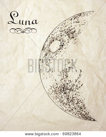 Vintage Moon Drawing