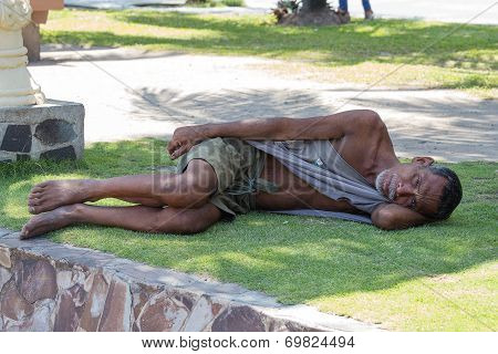 Beggar Man Sleeping On The Street, Philippines