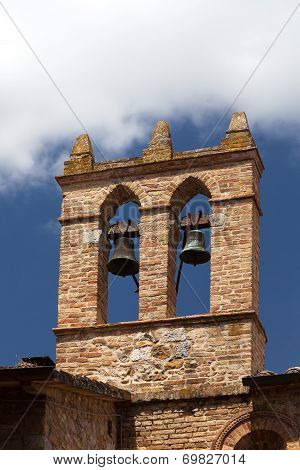 view on some of famous tower with bells in San Gimignano in Toscany in italy