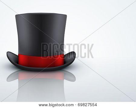 Light Background Black gentleman hat cylinder with black ribbon.