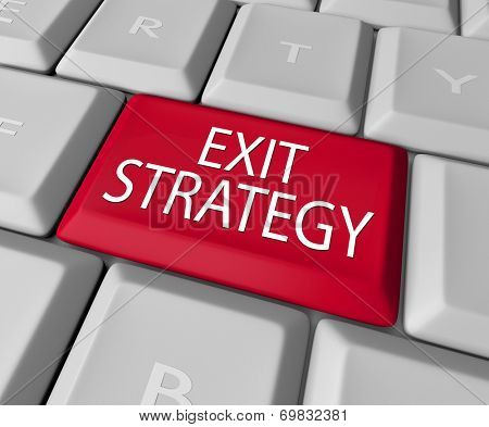 Exit Strategy words on a computer keyboard button or key as way out of contract, agreement, partnership, marriage or other arrangement