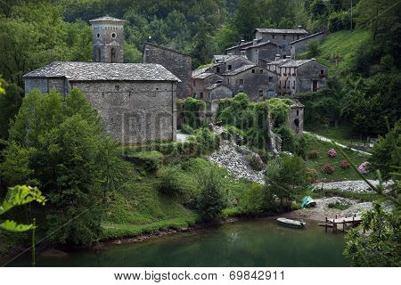 The Medieval Village Of Isola Santa Located In In Garfagnana, Italy