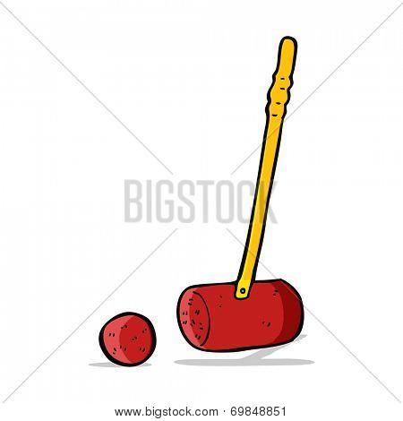 cartoon croquet mallet and ball