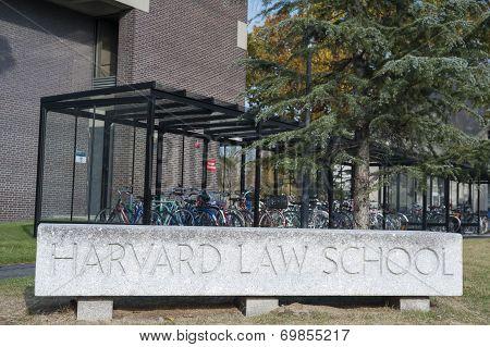 Harvard Law School University Historic Building In Cambridge, Massachusetts, Usa.