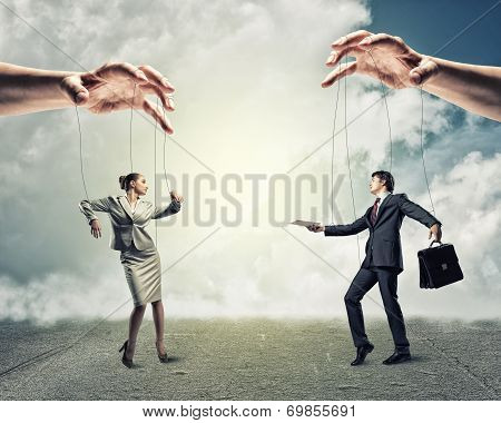 two puppet businessman
