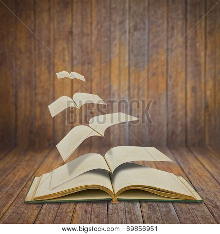 Open flying old books in wood room