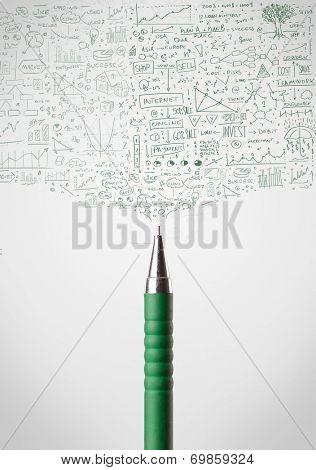 Pen close-up with sketchy diagrams