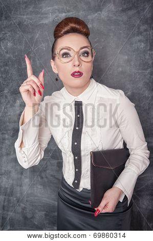 Strict Teacher Showing Finger
