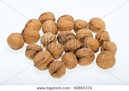 walnuts heap isolated on white background