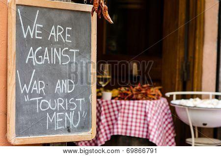 Restaurant Blackboard Outside A Local In Central Rome