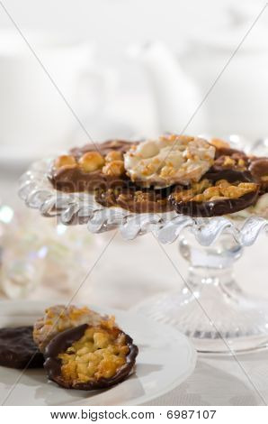 Afternoon tea with plate and comport of florentine biscuits poster