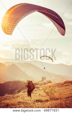 Paragliding Extreme Sport With Mountains On Background Healthy Lifestyle And Freedom Concept Summer