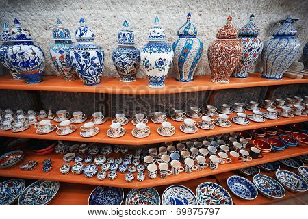 Ceramic art at pottery shop. Turkey. Middle East poster