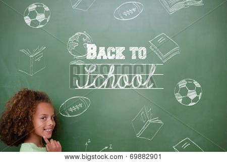 Composite image of back to school message against cute pupil thinking poster