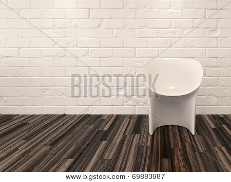 Single modern white chair against a whitewashed brick wall and recessed overhead down lights illuminating a hardwood parquet floor