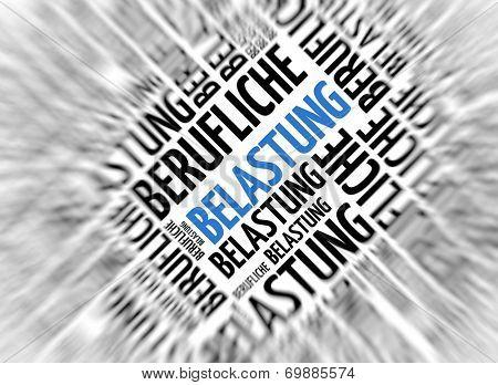 German marketing background - Belastung (stress) - blur and focus