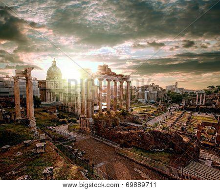 Famous beautiful Roman ruins in Rome, Italy