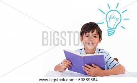 Idea and innovation graphic against cute pupil reading poster
