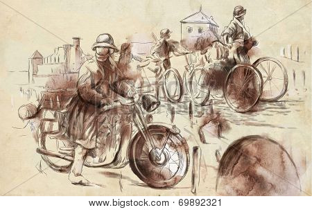 Soldiers On Bicycles And A Soldier On A Motorcycle
