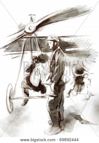 At The Airport - Postal Plane With A Pilot And Soldier