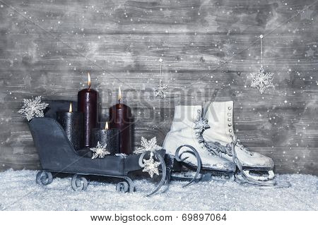 Grey Shabby Chic Christmas Background Of Wood With Four Burning Candles.