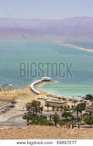 Ein Bokek beach on the shores of the Dead Sea, Israel poster