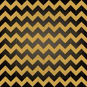 Abstract geometric zigzag seamless pattern in black and yellow, vector poster