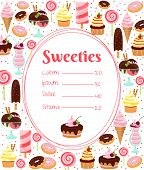 Sweets menu or price list template within an oval frame surrounded by colorful icons of ice cream  glazed and iced cakes  pastries  candy  milkshakes and desserts on white poster