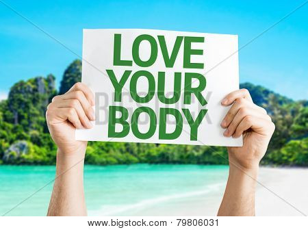 Love Your Body card with a beach on background